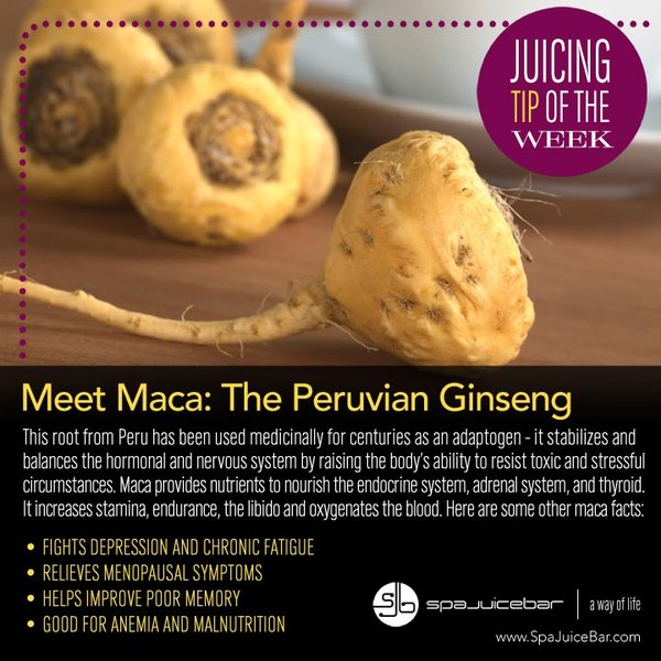 SpaJuiceBar Juice Tip of the Week Maca